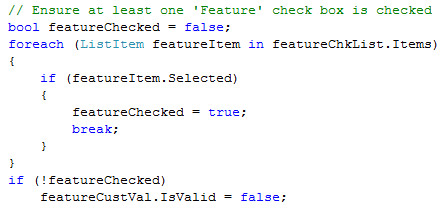CheckBoxList Validation