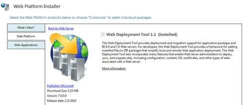 Installing Web Deployment Tool using Web Platform Installer